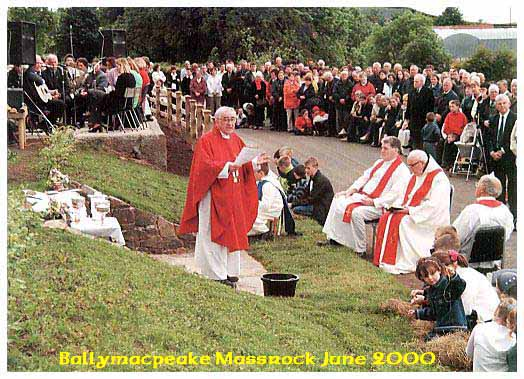 Fr O'Donnell PP says Mass at Ballymacpeake June 2000 AD.